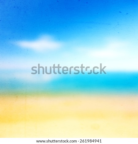 Blur background,beach with cloudy sky, Bright colors. - stock photo