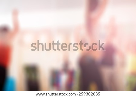 Blur background  Dance class for women at fitness centre - stock photo