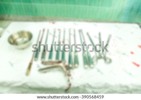 blur background gynecological equipment use for treatment gynecological disease - stock photo