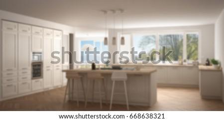 Blur background interior design, modern white scandinavian kitchen with big  Windows, 3d illustration