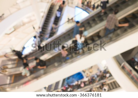 blur background of people with escalator interior shopping center