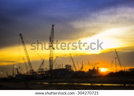Blur background Oil refinery factory in the morning. - stock photo