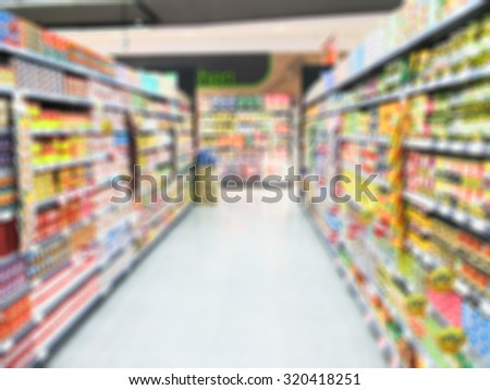 blur background :  People inside Shopping Mall in supermarket.