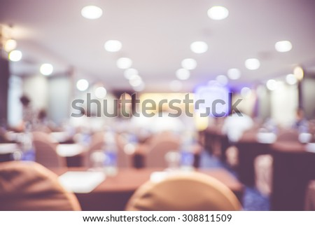 blur background, seminar event room with bokeh light background,Business concept. - stock photo