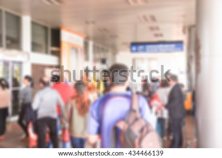 Blur background Terminal Departure Check in at airport - stock photo
