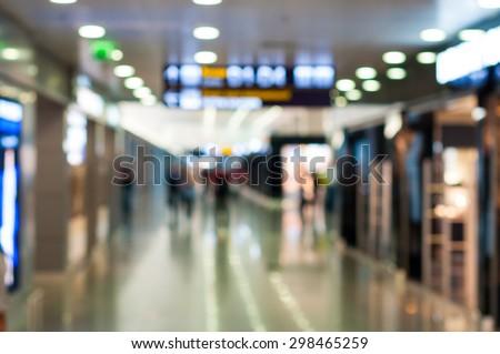 Blur background : Terminal of International Airport. Destination scene - stock photo