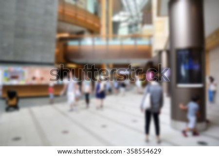 Blur background with bokeh light of Department store interior or Shopping Center - stock photo