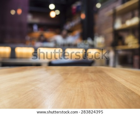 Blur bar restaurant with Table top counter  - stock photo