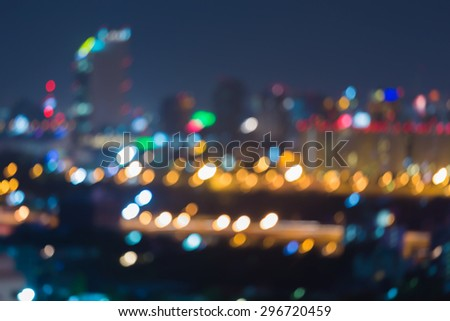Blur bokeh lights city motion of traffice expressway at night   - stock photo