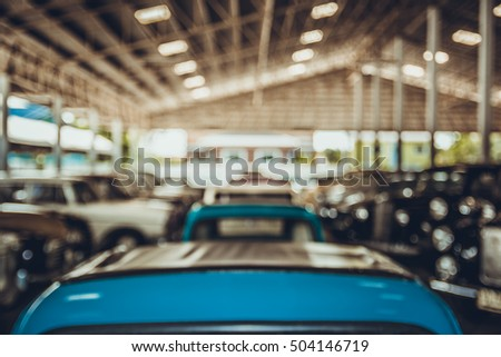 blur car warehouse for background