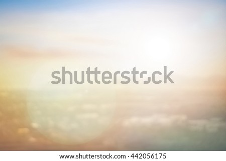 Blur City Cloud Color Hotel Skyline Blue Red Brown Orange Bridge Heaven Plan Urban View Sun Vibrant Evening Sea Sunny Park Tourism Dawn Sunlight Zen Valley Fresh Peace Bright Horizon Sand concept - stock photo