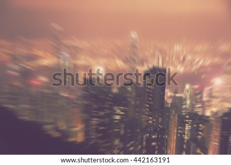 blur city landscape - abstract motion blurred background of Hong Kong high rises aerial view - stock photo