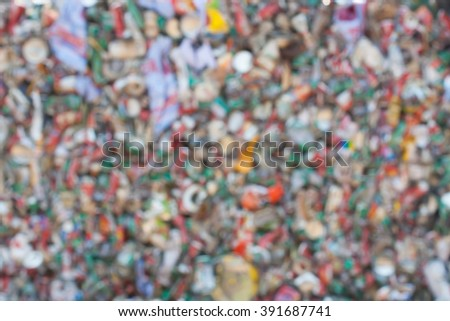 Blur crushed tin cans for recycling - stock photo