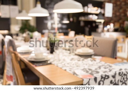 Blur Dinner Table Picture Background Of Furniture Mall