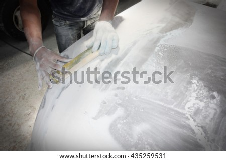 Blur focus car body work auto repair paint after the accident.                          - stock photo