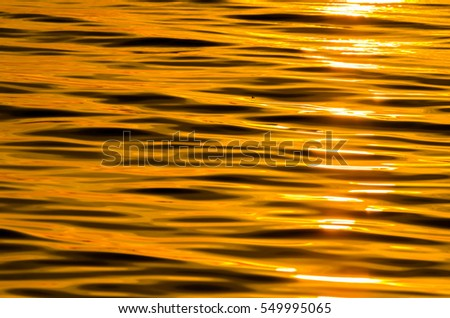 blur focus picture of the water surface in the sunrise time