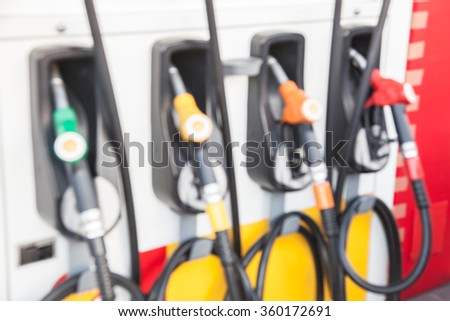 Blur Fuel Pumps at the Gas Stations - stock photo