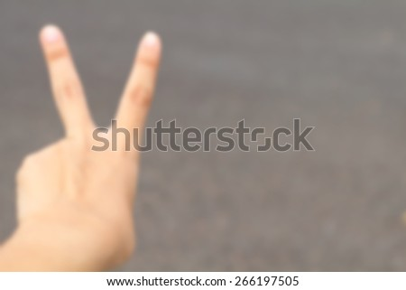 Blur Hand. Alpha. Victory. Two fingers 2 - stock photo