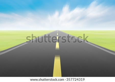 blur high speed road with blue skies background