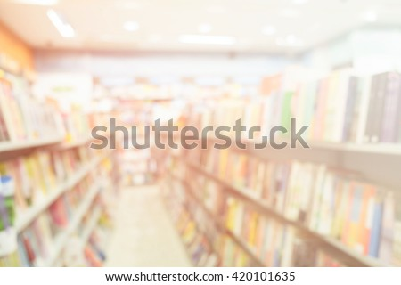 Blur image of a bookstore. Bookstore background - stock photo