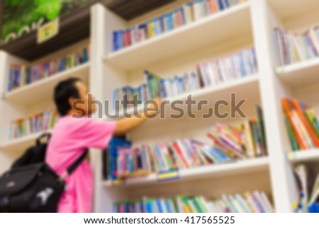 Blur image of bookshelf in library use for background.