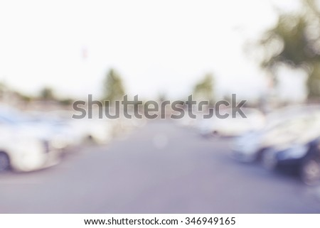 blur image of car park in outdoor parking - stock photo