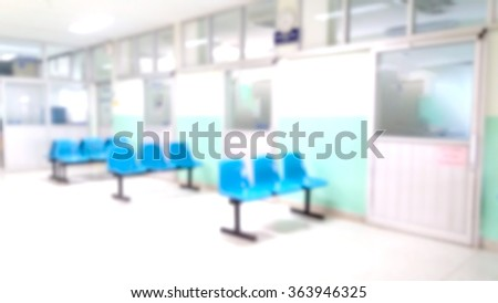 blur image of chair in hospital