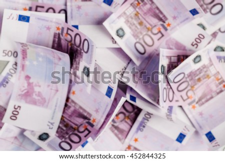 blur image of EUROs banknotes. concepts of finance and business. - stock photo
