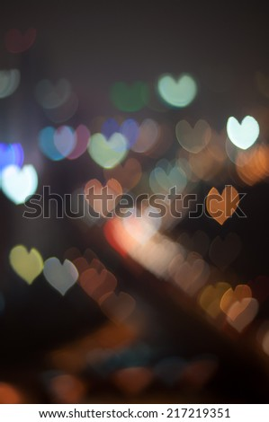 Blur Image of Kuala Lumpur city with love  bokeh - stock photo