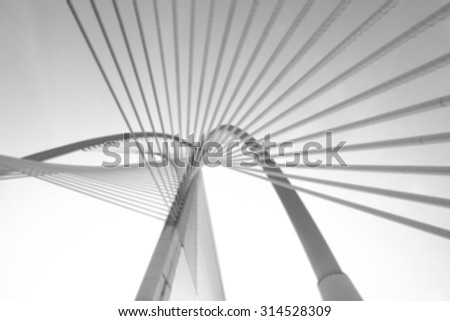 Blur Image Of Modern bridge architecture at Putrajaya on a black and white.  - stock photo