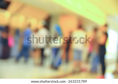 Blur image of people queue at automatic teller machine (ATM) - stock photo