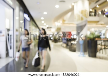 blur image of shopping mall and people with abstract bokeh