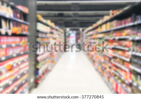 blur image of supermarket as background