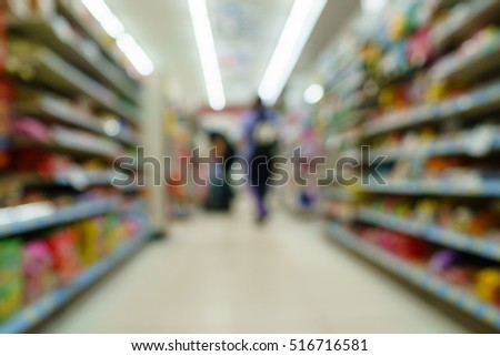 blur image of supermarket for business background usage
