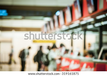 Blur image of Terminal Departure Check-in at airport in vintage filter - stock photo