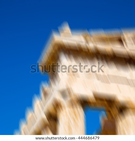 blur in greece    the old architecture    and historical place parthenon          athens - stock photo