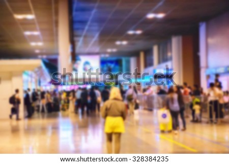 Blur Inside the departure hall for background - stock photo