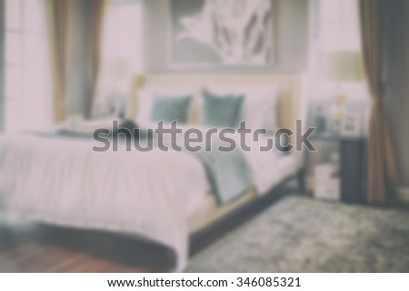 blur interior of classic style bedroom at home - stock photo