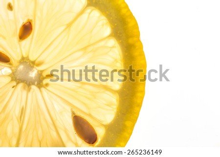 blur lemon slice isolated on a white background. Clipping Path - stock photo