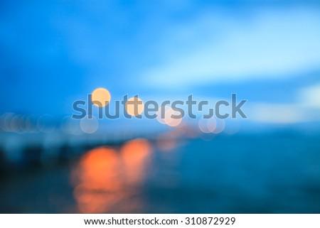 Blur light at pier. - stock photo