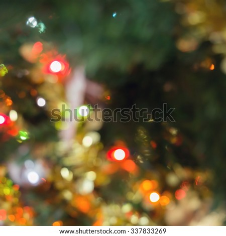 blur light celebration on christmas tree, happy new year colorful background