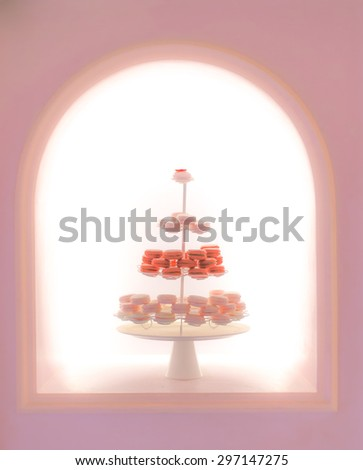 Blur Macarons on Serving Racks for Display, Soft and Dreamy Effect, Abstract, Blur - stock photo