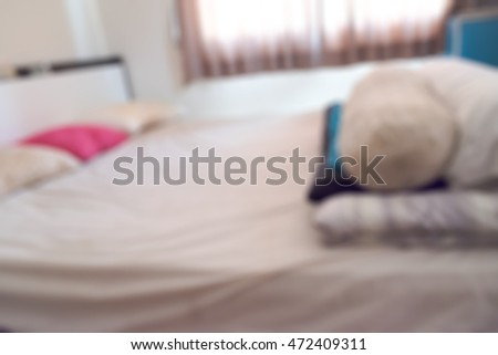 Blur of dirty bed and pillow from saliva stain
