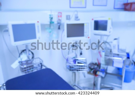 Blur of equipment and medical devices in modern operating room take with art lighting and blue filter,ready for operation,interior of the operating room with the anesthesiology machine