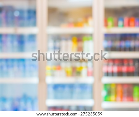 Blur of freezer in minimarket. - stock photo