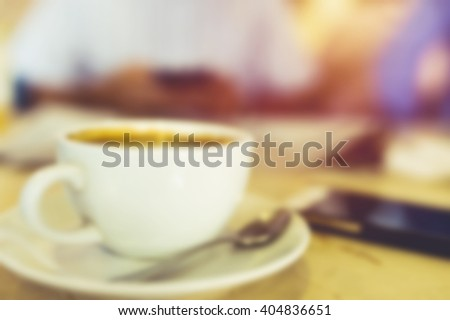Blur of hot coffee. Vintage tone - stock photo