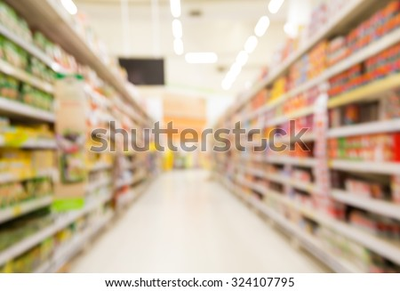 Blur of supermarket. With Miscellaneous Product on shelf