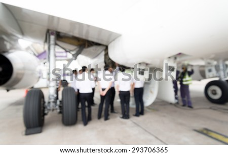 Blur of the A320 pilot training on landing gear - stock photo