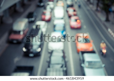 Blur of traffic jam in the city