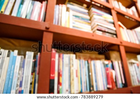Blur Old Books in Shelf with Light